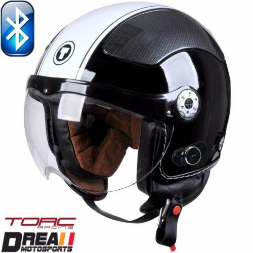 TORC T58B BLUETOOTH GLOSSY BLACK WHITE OPEN FACE MOTORCYCLE HELMET DOT XS-XL