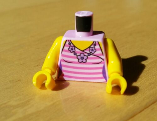 1x NEW Genuine LEGO Female Minifig Torso Pink Striped Tank Top Floral Necklace
