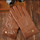 Mens fleece Driving Genuine Leather Gloves motorcycle warm Comfort police biker