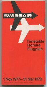 SWISSAIR-TIMETABLE-WINTER-1977-78-FLUGPLAN