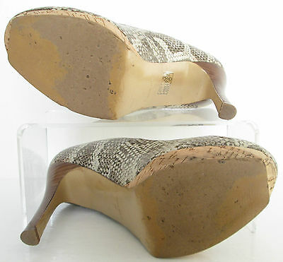 Nine West Talla 6 womes Beige Marrón Piel de serpiente Bombas Tribunal Zapatos Tacones Altos Plataformas