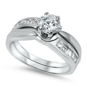 .925 Sterling Silver Round Cut Clear CZ Wedding Promise Ring Set Size 5-10