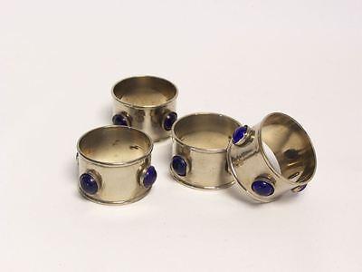 12er Metall Serviettenring mit blauen Steinen Servietten Ring Serviettenhalter