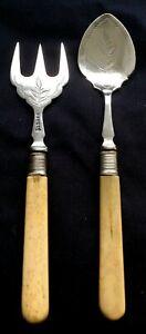 Antique-JGG-Shefield-PIckle-Serving-Set-Nickle-Silver-Bone-Handles-England
