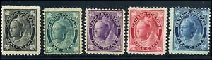 Canada #66-70 mint F/F-VF OG NH//DG 1897-1898 Queen Victoria Maple Leaf Part Set