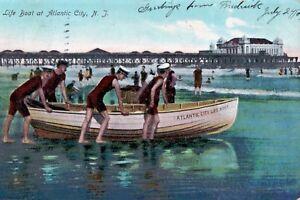 DB-Prelinen-Postcard-1907-Life-Boat-Lifeboat-Atlantic-City-NJ-New-Jersey