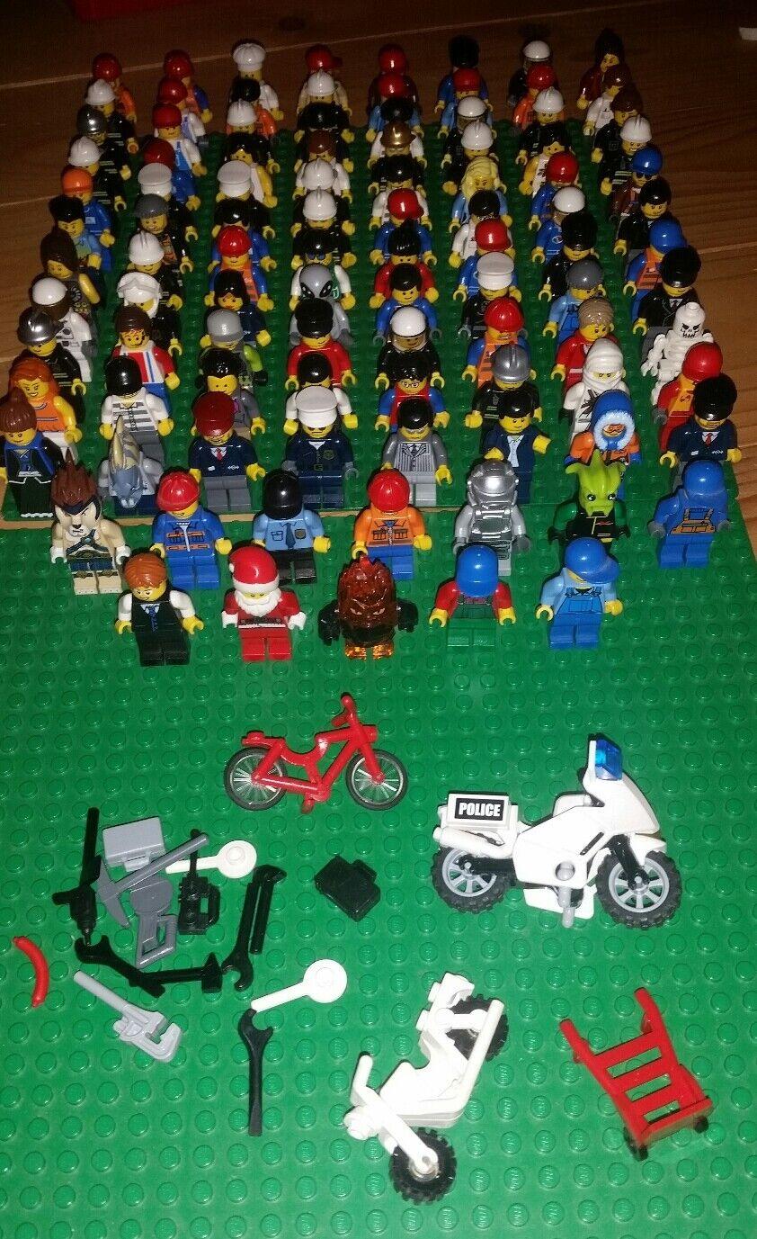 100 X LEGO ® statuine, minifigs principalmente City