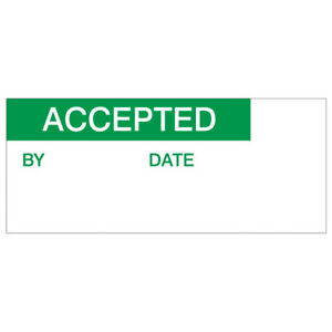 Accepted Labels, Green On Nylon Cloth, 38 x 15mm, Pack Of 140