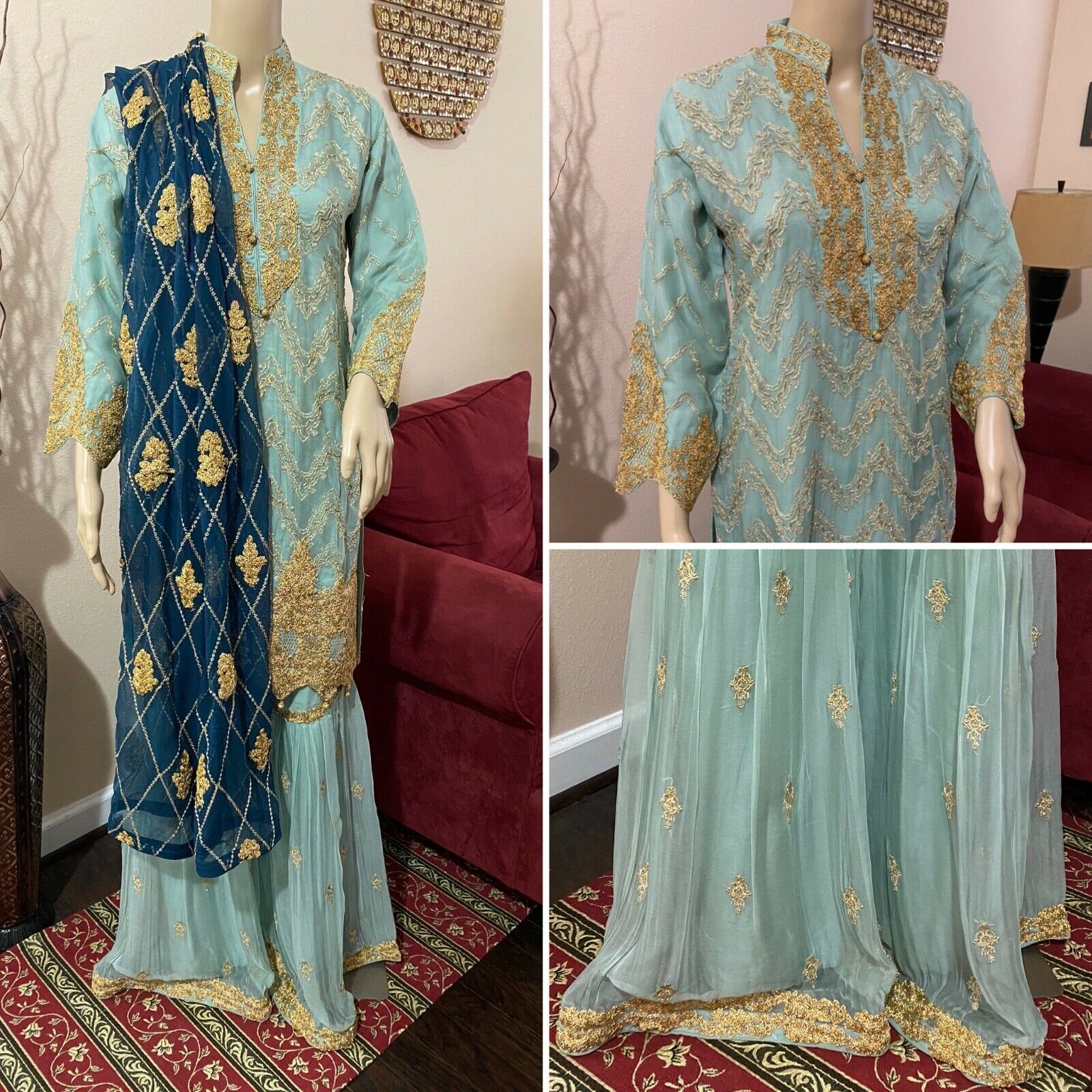 Pakistani pista green Straight Style Embroidered Sequins Chiffon Gharara Suit