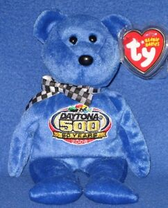 TY STORE RACING GOLD BLUE NASCAR BEANIE BABY - MINT with MINT TAG ... 6b1a4fa0566