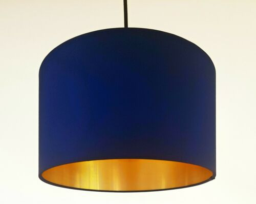 Navy Velvet and Brushed Gold Lined Lampshade