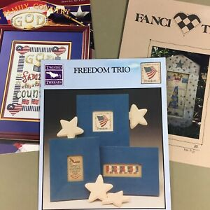 Lot of 3 patriotic cross stitch charts Lady Liberty Freedom God Family Country