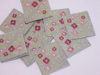 Il Prezzo Più Economico 10 X Verde Ricamato Rosa Argento Fiori Arte Artigianato Card Making Motivi # 8e61-