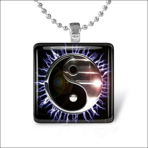 METALLIC YIN YANG Electric Sun Black Silver Glass Tile Silver Pendant Necklace