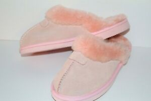 UGG-Australia-Brand-Pink-Leather-Sheep-Skin-Slippers-Size-9-NEW