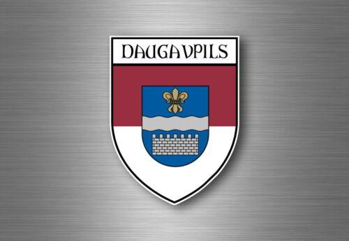 Sticker decal souvenir car coat of arms shield city flag Daugavpils latvia
