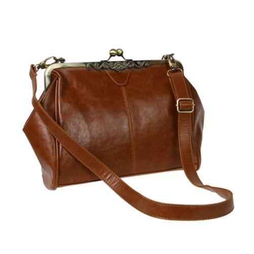 Cerradura De Beso de estilo vintage y retro Hombro Cartera Bolso de mano de cuero de imitación bolsos bolsa sa U1