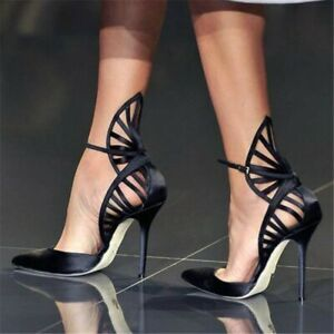Women-High-Heels-Shoes-Pointy-Toe-Ankle-Strap-Pumps-Satin-Black-Sandals-Big-Size