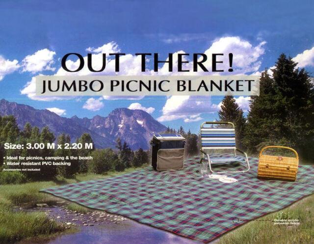 JUMBO PICNIC BLANKET 3m X 2.2m Extra Large Camping Beach Rug Mat - Dark Blue