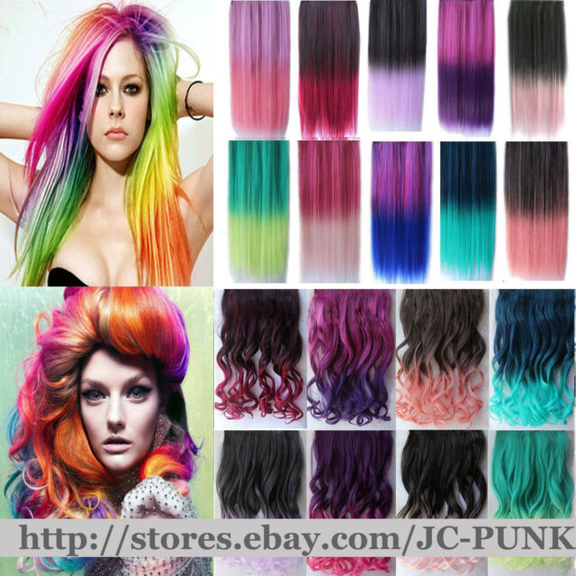 60Colors One Piece Colorful Hair Extensions Curly Straight 5clips W/Tracking