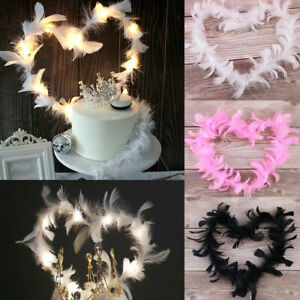 LED-White-Pink-Black-Feathers-Wings-Party-Birthday-Backing-Cake-Topper-Decor