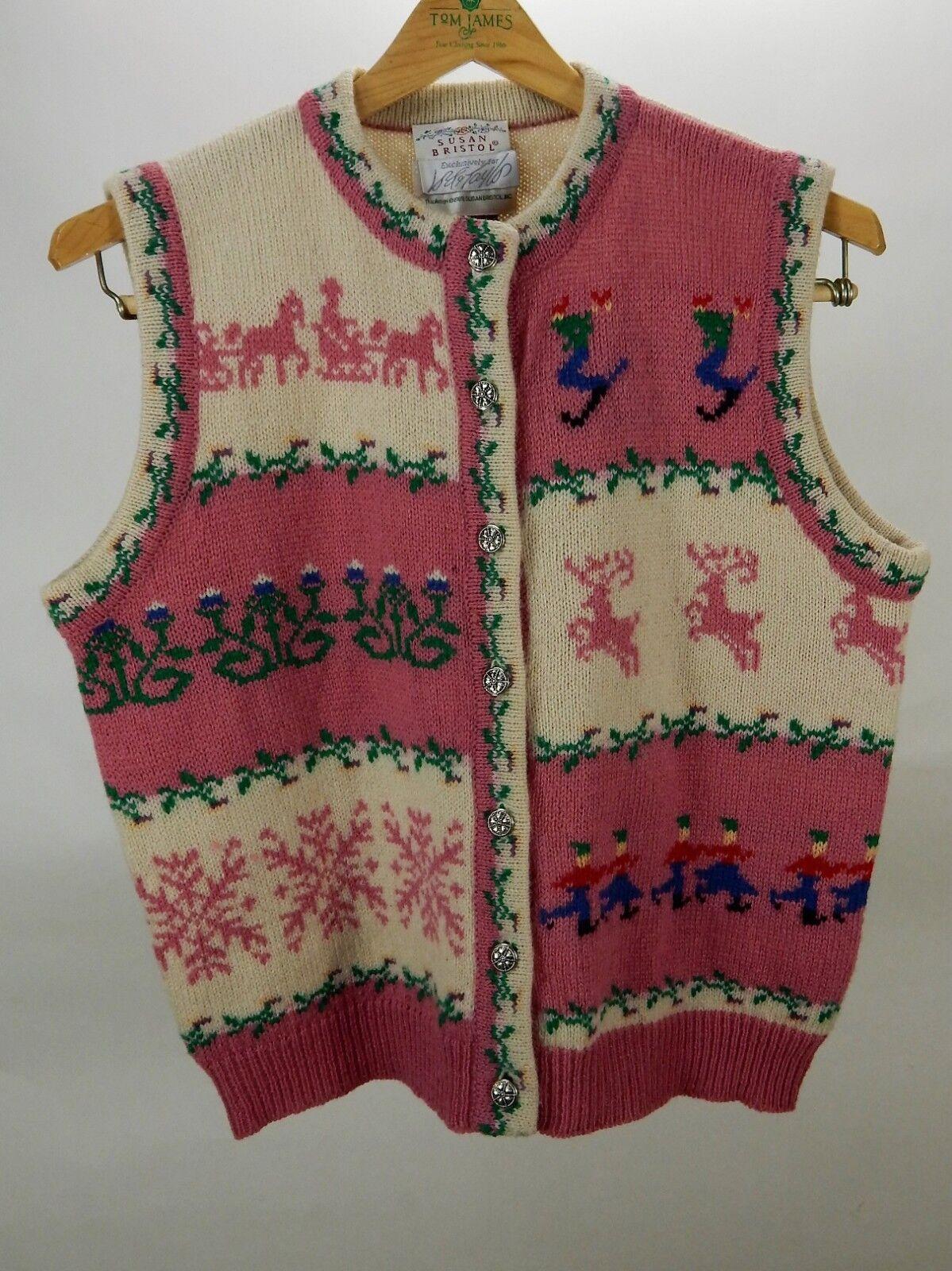Vintage 1989 Susan Bristol 100% Shetland Wool Christmas Vest Size M