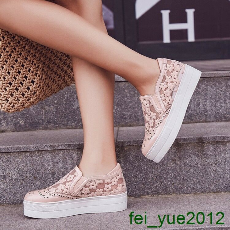 femmes  Brogue Lace Mesh Floral Slip on Creeper Loafers Platform Leather Sneaker