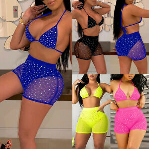 Women-Rhinestone-Crystal-Diamond-Push-up-Bikini-Set-Bathing-Swimsuit-Swimwear