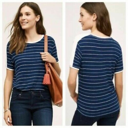 Postmark blue and white striped ribbed top