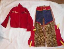 Vintage Cowboy Western Costume Boys Size 12 Red Jacket Pants with Chaps As Is