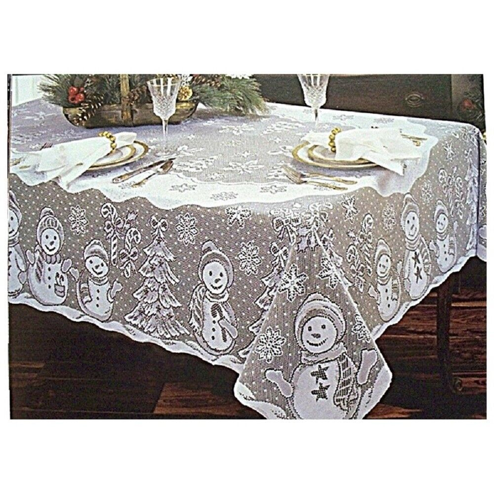 Christmas Weiß 60  x 84  Oblong Snowman Family Lace Tablecloth Free Shipping