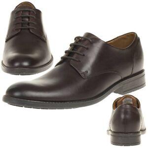 Clarks-Truxton-Lisos-Piel-Hombres-Zapatos-bajo-con-Cordones-Cuero-Marron-Oscuro