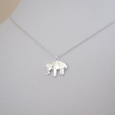 925 sterling silver small ORIGAMI ELEPHANT charm with chain necklace