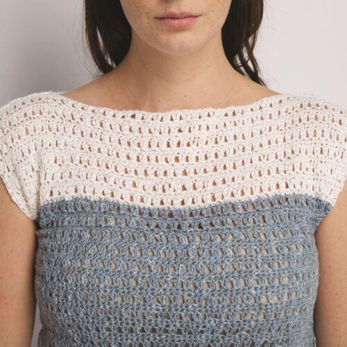 Two-Tone Shelley Top DMC Natura Linen Crochet Pattern