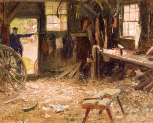 Wheelwrights Shop by E Potthast 8x10 Print Woodwork Craftsman Workshop Art 170