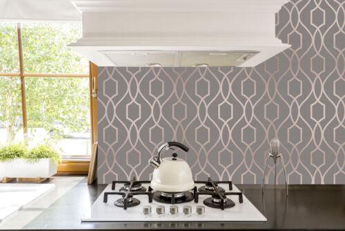 Fine Decor Apex Wallpaper Geometric Trellis Pattern Charcoal Grey//Copper FD41998