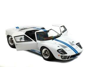 LAST ONE!!! 1968 FORD GT40 MK1 WIDEBODY WHITE - BLUE STRIPES  1/18 Metal Solido