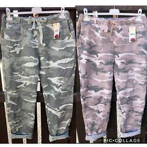 Italian-Lagenlook-Camouflage-Army-Print-Joggers-Stretch-Magic-Trousers-10-16