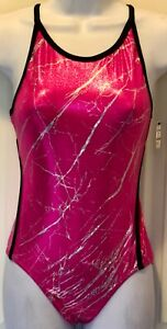 GK-CAMISOLE-ADULT-SMALL-PINK-SILVER-FOIL-GYMNASTICS-DANCE-TANK-LEOTARD-Sz-AS-NWT