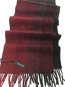 c69baec3695c JAEGER écharpe laine rouge bleu gris   eBay