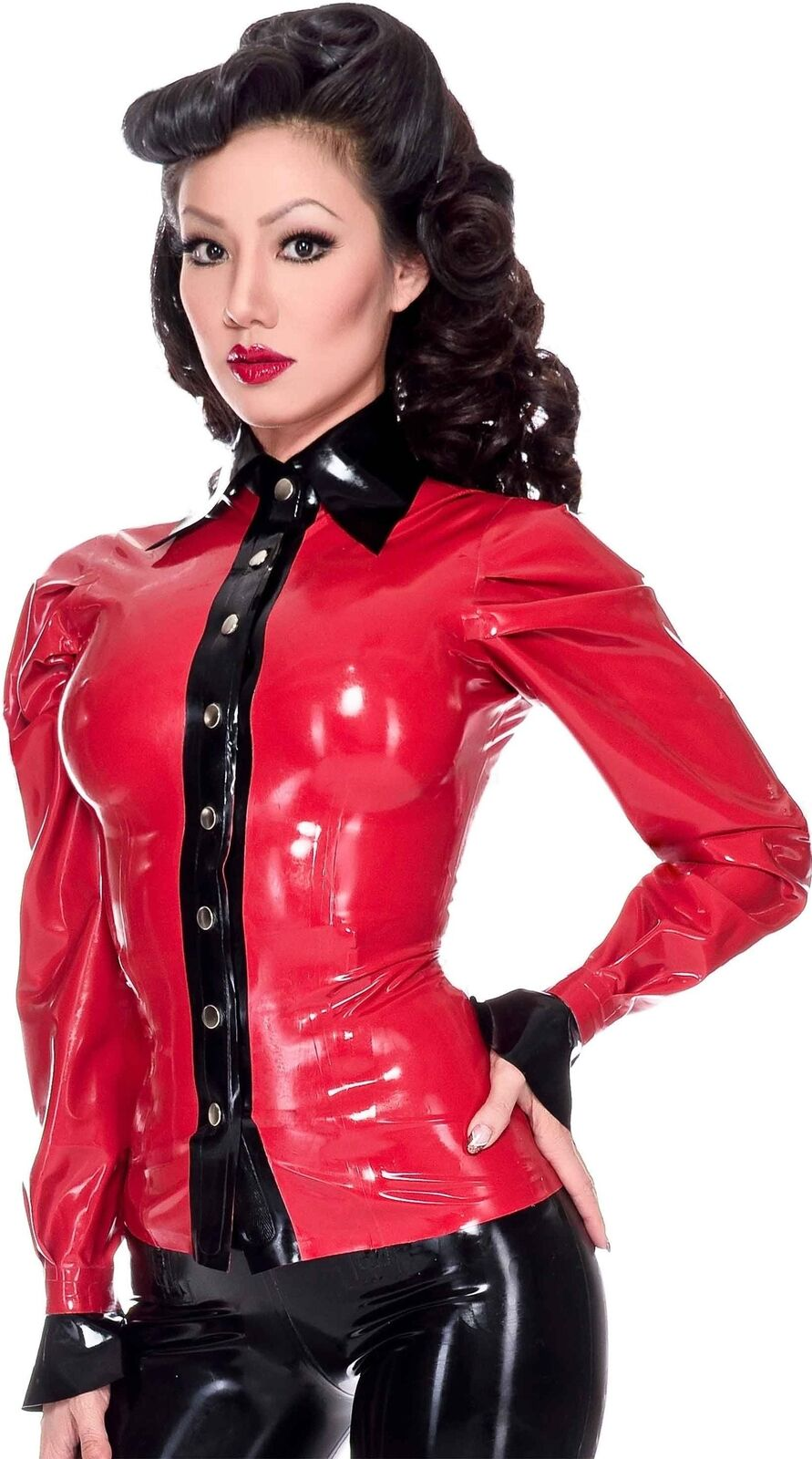 Westward Bound Elite Latex Blouse rot with schwarz Trim