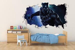 Black Panther Wall Hole 3d Decal Vinyl Sticker Decor Room