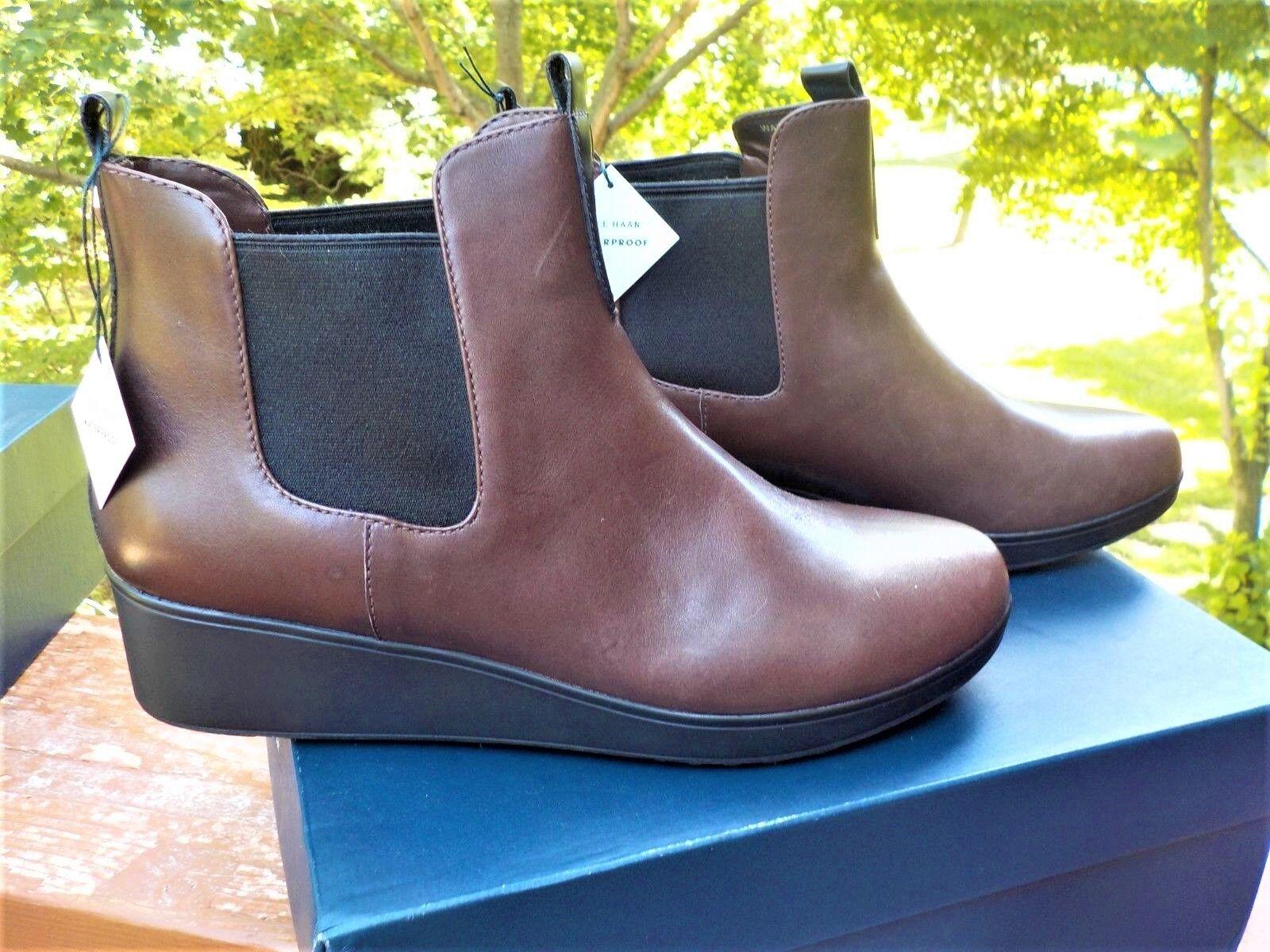 NIB Cole Haan Nassau Chelsea Waterproof Brown Ankle Boots WOMEN's Size 8 & 10