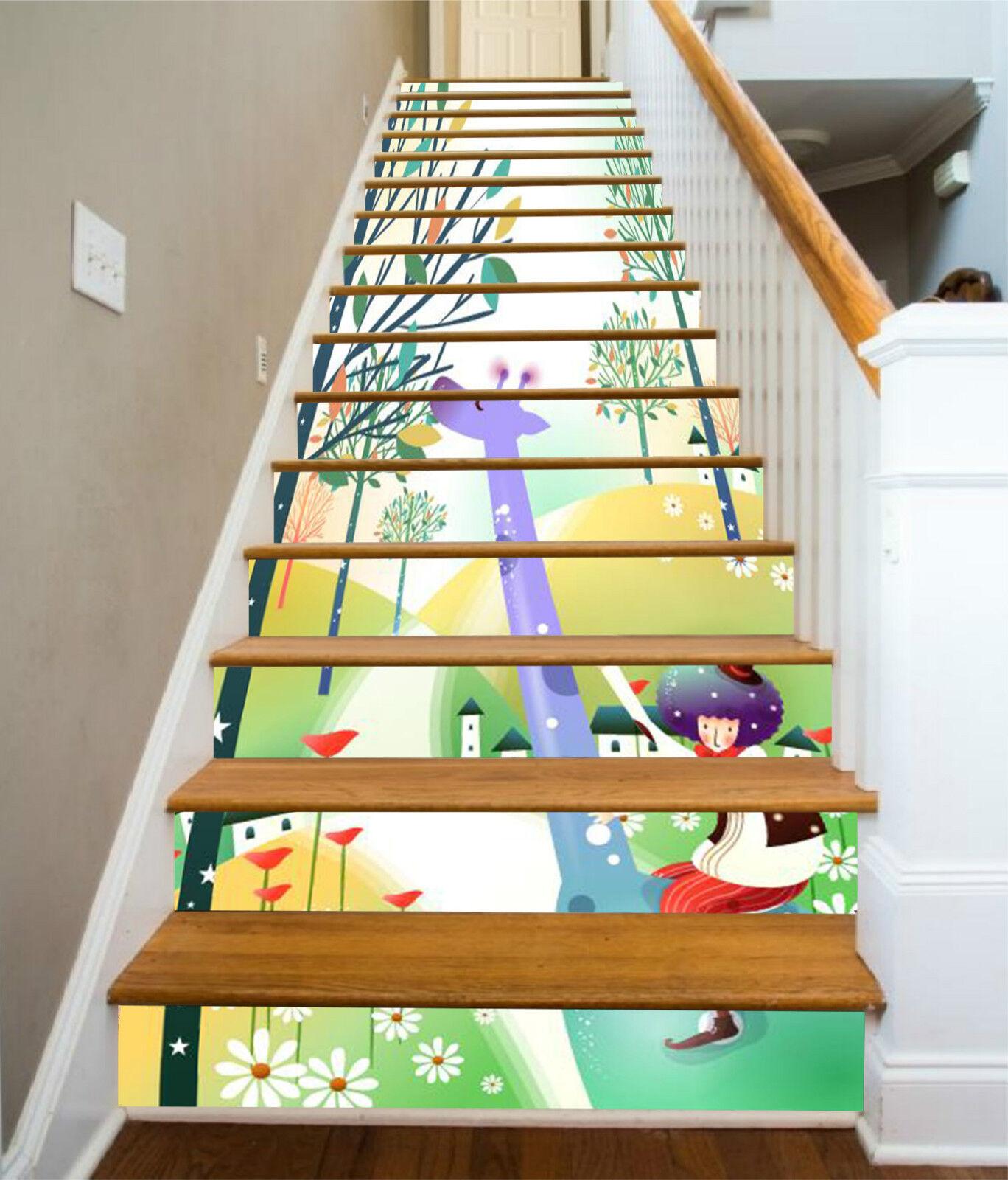 3d jolie Girafe 17 Stair Risers Décoration Papier Peint Vinyle Autocollant Papier Peint De