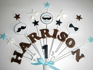 ANY NAME AGE LITTLE MAN MOUSTACHE BIRTHDAY CAKE TOPPER eBay