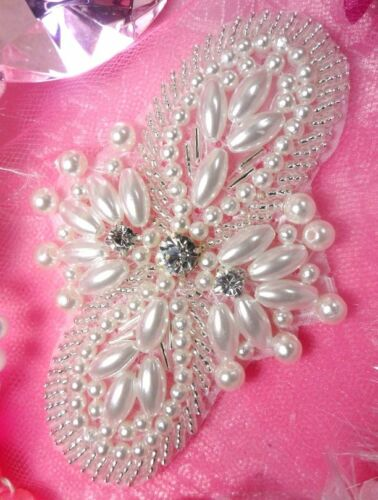 """New Arrival Larger Size Silver Pearl Beaded Rhinestone Applique Patch 4/"""" JB85"""