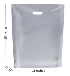 200504e165 10 LARGE FROSTED PLASTIC BAGS / BOUTIQUE GIFT SHOP CARRIER BAG 15x18 ...
