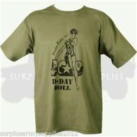 MILITARY T-SHIRT DDAY DOLL 100% COTTON WW2 WW1 BOMBER BABE BRITISH US ARMY
