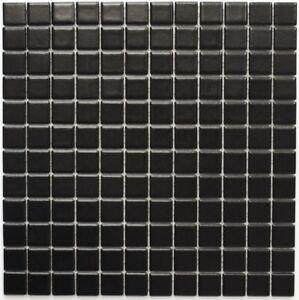 Détails sur Mosaïque carreau céramique noir mat cuisine bain mur sol  18D-0311_f | 10 plaques