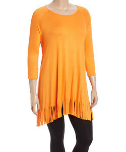 a2f123e5538 New Women s Plus Size Orange Fringe-Trim Tunic (Top) Sizes 1X 2X ...